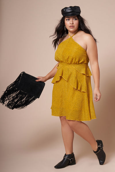 DELILAH Polka Dot Yellow Dress