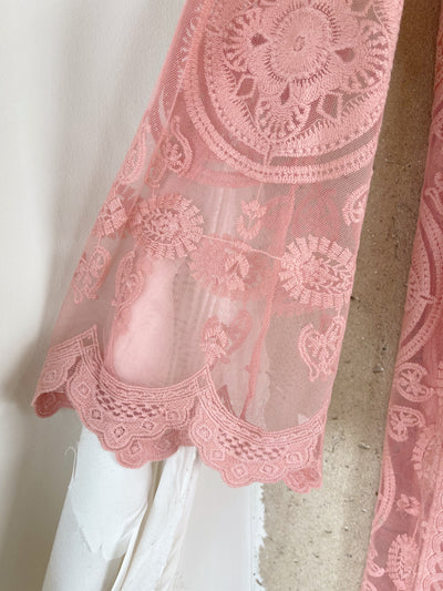 DARLING Pink Lace Crochet Duster