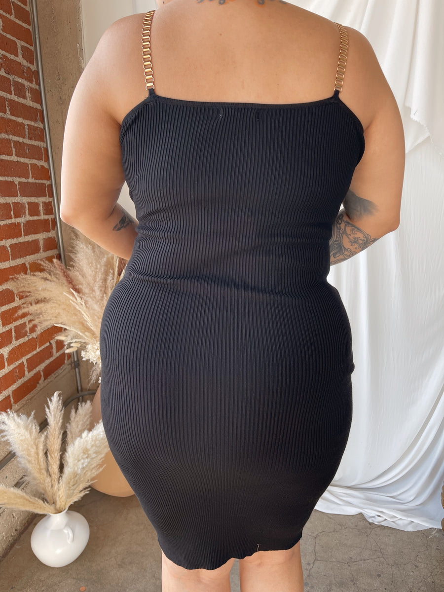 TIANNA Black Knit Midi Dress