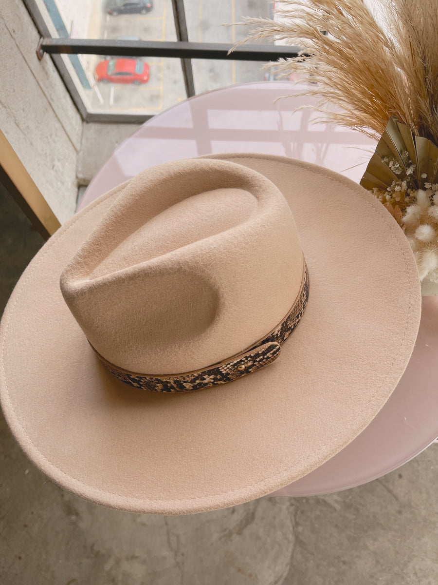 BROOKLYN Tan Flat Rim Fedora