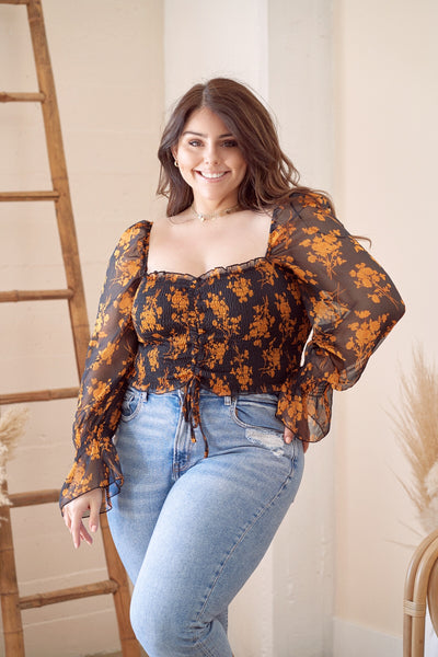 AUTUMN Black and Orange Floral Top