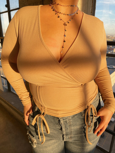 CASSIA Tan Ribbed Long Sleeve Top