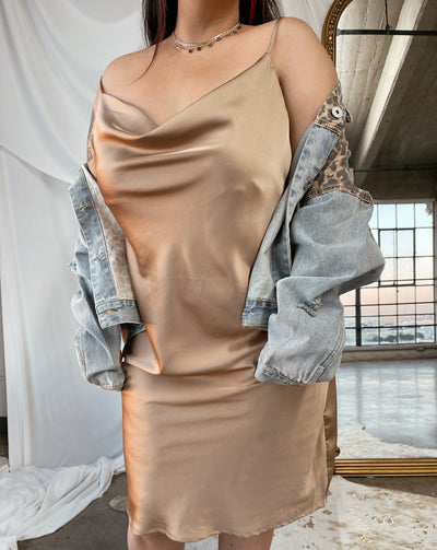 CARLY Taupe Satin Dress