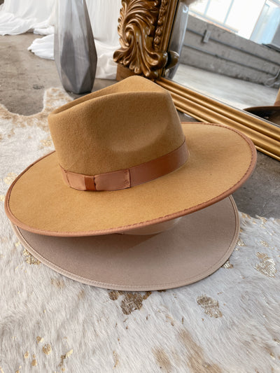 OUT WEST Brown Flat Brim Hat