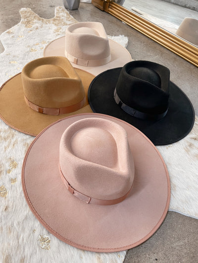 OUT WEST Ivory Flat Brim Hat