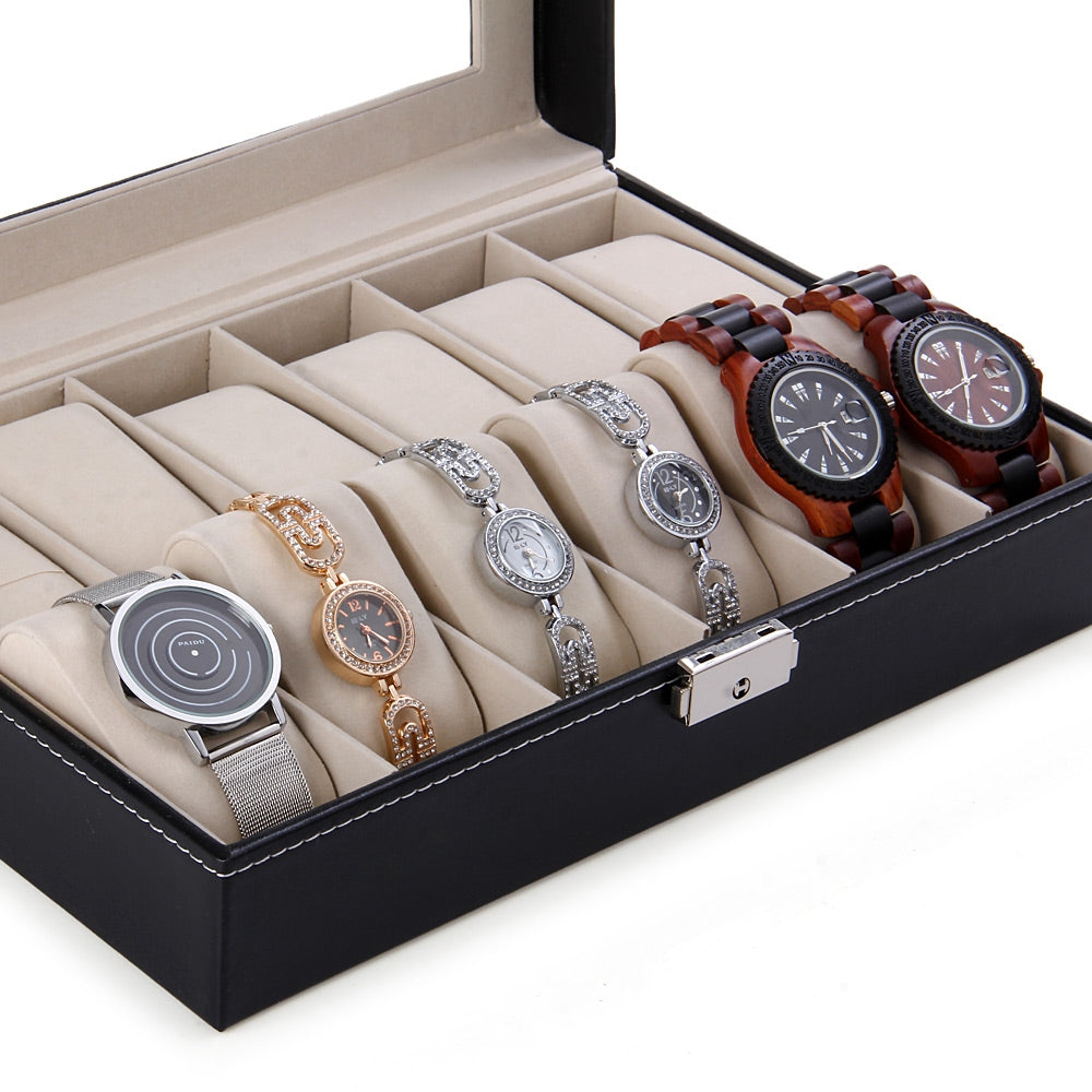 12 Grids Watch Display Case PU Leather Jewelry Storage Box Organizer