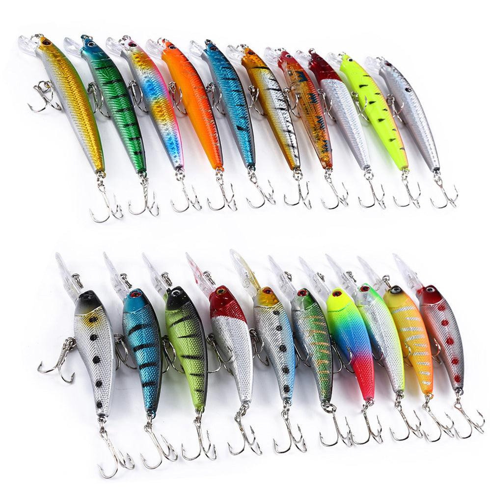20 PCS Lure Hard Plastic Bait Minnow Pencil Fishing Tackle with 2 Hooks