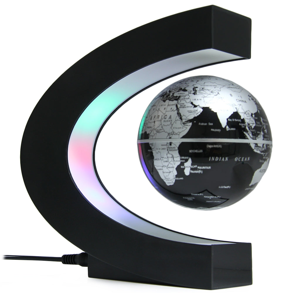 C Shape Levitation Floating Globe Rotating Magnetic World Map Colorful LED Lamp Decoration Gift