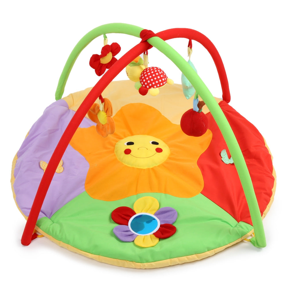 Baby Soft Play Mat Sunflower Gym Blanket with Frame Rattle Crawling Toy