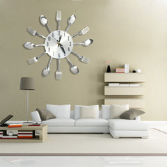 Stainless Steel Knife Fork Spoon Analog Wall Clock