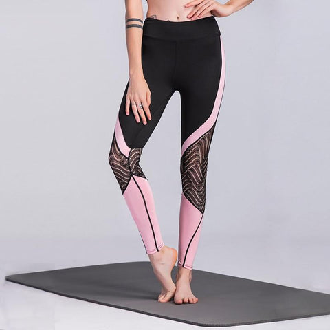 Athleisure Wear - Black Mesh Patchwork Women Leggings Harajuku Athleisure Fitness Clothing