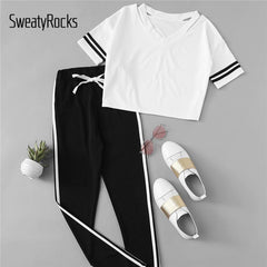 Athleisure Wear - Contrast Tee & Drawstring Waist Pants  V Neck Short Sleeve Casual Sporting Athleisure Two Sets