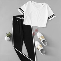 Contrast Tee & Drawstring Waist Pants V neck Short Sleeve