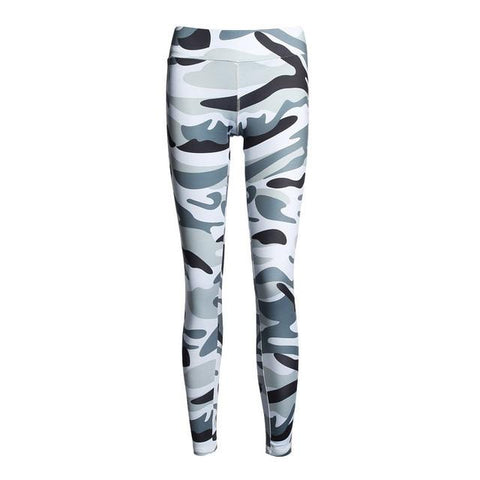 Athleisure Wear - Elastic High Waist Camouflage Printed Leggings