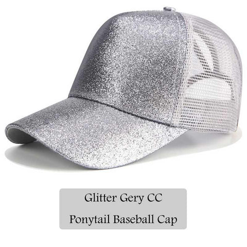 Athleisure Wear - Glitter Ponytail Baseball Cap Women Snapback Hat Summer Messy Bun Mesh