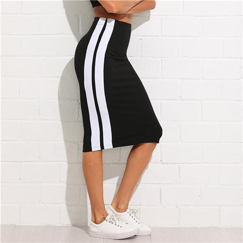 Athleisure Wear - Knee Length Sheath Athleisure Skirts Women High Waist Striped Sporting Skirts