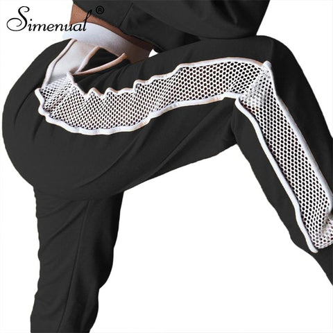 Athleisure Wear - Simenual Athleisure Mesh Splice Women Harem Pants