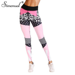 Athleisure Wear - Simenual Sportswear 2018 Bodybuilding Leggings For Women Jeggings Pink Elastic Pants
