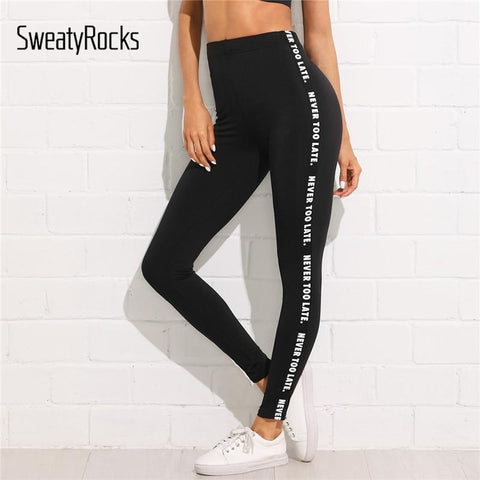 Athleisure Wear - SweatyRocks Letter Print Side Skinny Leggings