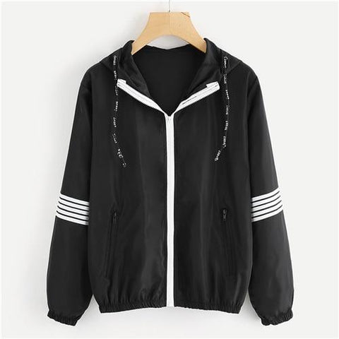 Athleisure Wear - SweatyRocks Striped Sleeve Hooded Jacket