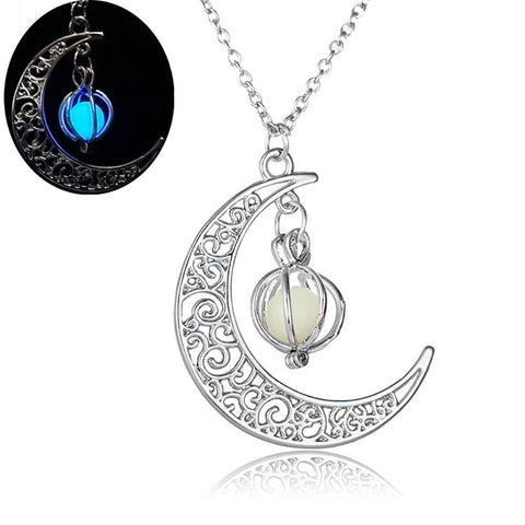 Glow In the dark Necklace Moon Shape Hollow with Ball Luminous