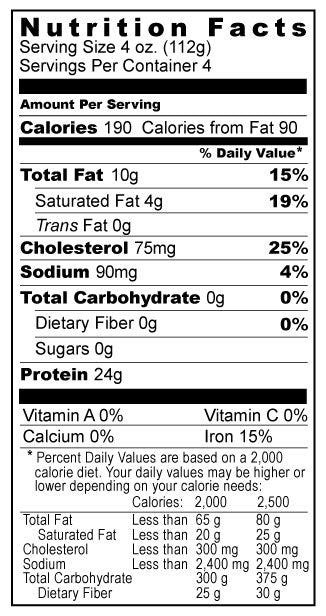 Ground Elk Nutrition Facts Panel