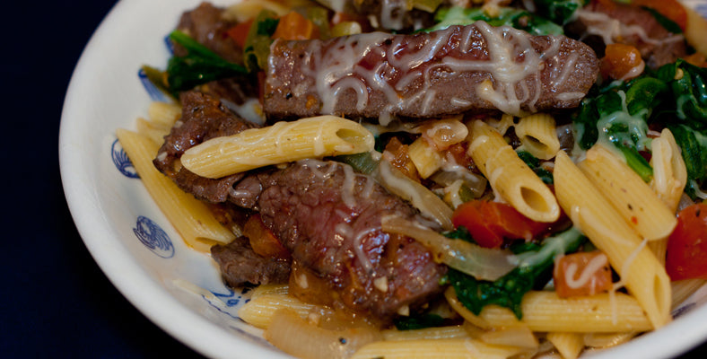 Bison Steak with Penne Pasta & Vegetables