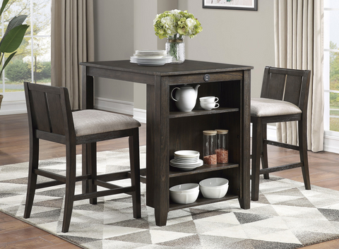 Daye Collection 3pc Counter Height Table - Burnished Brown