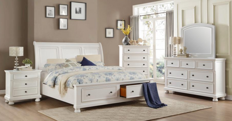 Laurelin Collection 4pc King Bedroom Set White