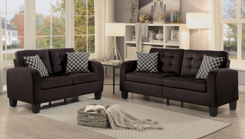 Sinclair Collection Sofa and Loveseat Chocolate
