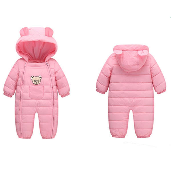 TEDDY BEAR Parka - Very Warm Hooded Onesie Baby Romper for Winter