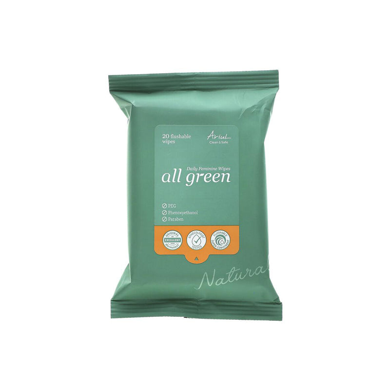 Clean & Safe All Green Feminine Wipes - 20 Wipes