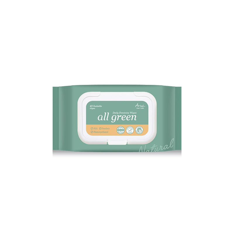 Clean & Safe All Green Feminine Wipes - 40 Wipes