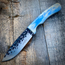 Load image into Gallery viewer, The Capers Hammered Knife - Sky Blue Dyed Bone
