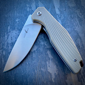 Expedition Prototype Folder - Matte ATS-34 & Tan Ripple G-10 - Limited Run of 20