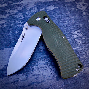 Expedition Prototype Folder - One of a Kind - Rhino Matte Sliding Lock - Green G-10