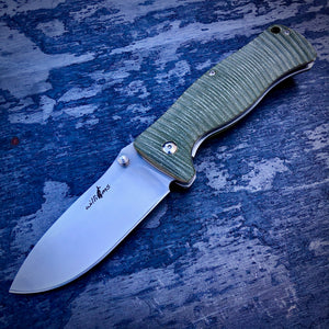 Expedition Prototype Folder - One of a Kind - Rhino Matte Liner Lock - Green G-10