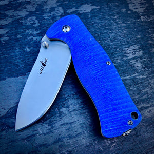 Expedition Prototype Folder - One of a Kind - Rhino Matte Liner Lock - Blue G-10
