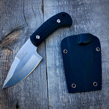Load image into Gallery viewer, Legacy Concept Knife - One of a Kind - Small Serrated Drop Point - Black G-10