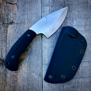 Legacy Concept Knife - One of a Kind - Large Serrated Drop Point - Black G-10