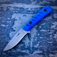 Load image into Gallery viewer, EXP ELMAX Concept Knife - One of a Kind - Bird Knife - Tumbled ELMAX & Blue G-10