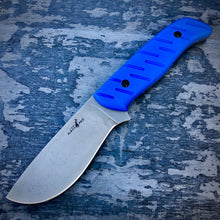 Load image into Gallery viewer, EXP ELMAX Concept Knife - One of a Kind - Big Game Knife - Tumbled ELMAX & Blue G-10