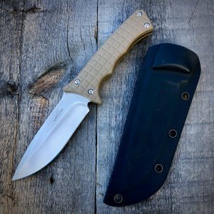 Legacy Concept Knife - One of a Kind - Fighter Prototype - Matte Finish & Rubberized Tan G-10