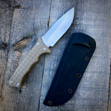 Load image into Gallery viewer, Legacy Concept Knife - One of a Kind - Fighter Prototype - Matte Finish & Rubberized Tan G-10
