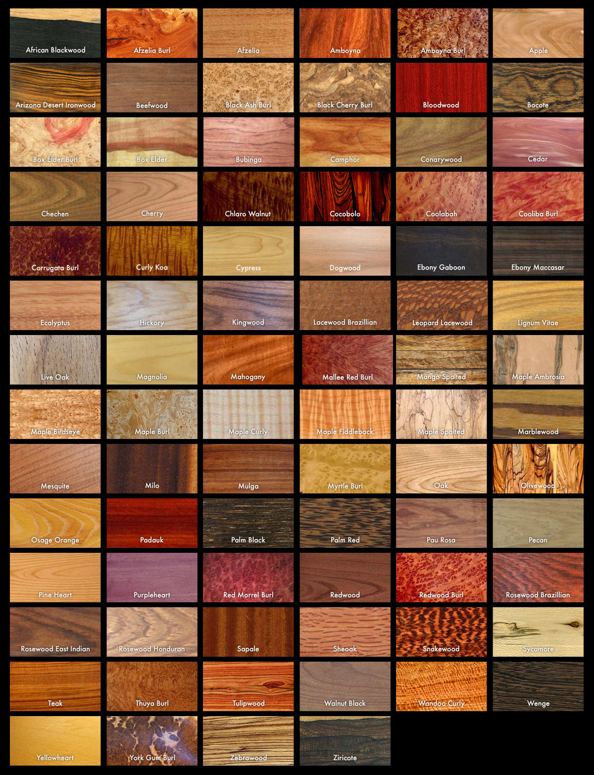 A preview of wood selection.