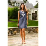 Scarlett Embroidered Sleeveless Denim Dress