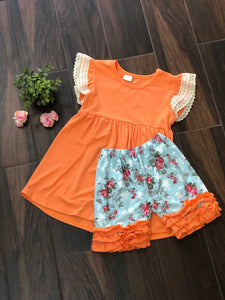 Peach Flutter Sleeve + Floral Shorts Set