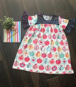 Apple Love Ruffle Sleeve Dress