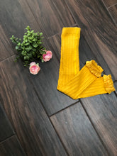 Load image into Gallery viewer, Golden Yellow Cable Knit Footless Ruffle Tights