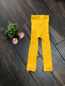 Golden Yellow Cable Knit Footless Ruffle Tights